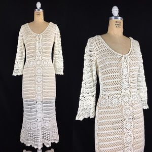 Sheer Crochet Bell Sleeve Wedding Festival Dress